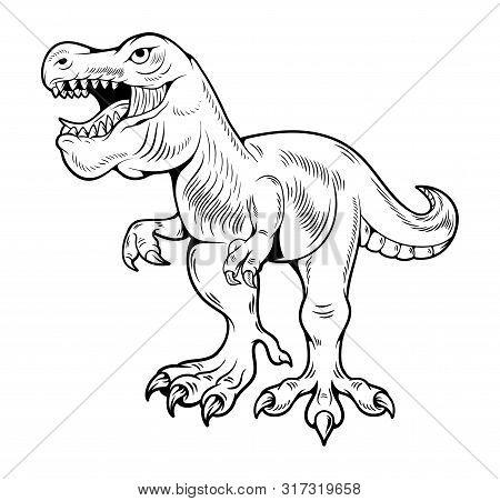 T-rex Tyrannosaurus Rex Big Dangerous Dino Running Dinosaur. Cartoon Illustration Drawing Engraving
