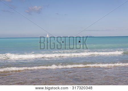 Surfers - Rosignano (near Vada), White Beach In Italy, Toscany.