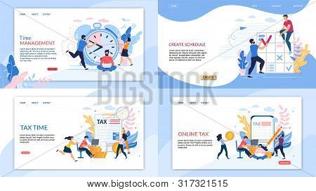 Set Informational Banner Online Tax Lettering. Flyer Inscription Time Management, Create Schedule, T