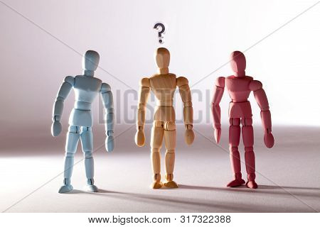 Gender Stereotype. Questioning Sexual Identity. Neutral Transgender Person Between Blue And Pink Mas
