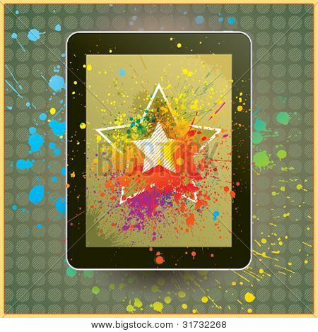 Tablet computer with the drops and splashes on vintage background. Vector illustration.