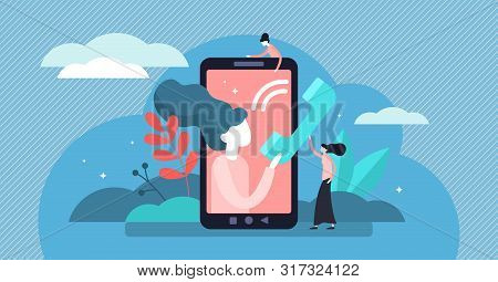 Call Vector Illustration. Flat Tiny Cellphone Communication Persons Concept. Modern Technology For V