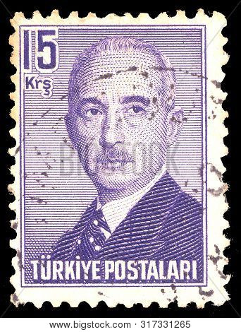 Turkey- Circa 1948: Post Stamp Printed Turkey. Mustafa Ismet Inonu  - Turkish General And Statesman,