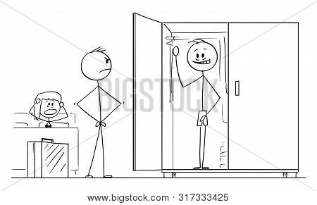 Vector Cartoon Stick Figure Drawing Conceptual Illustration Of Husband Returning Home And Found Love