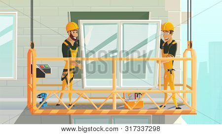 Contractors On Construction Works Cartoon Vector Concept. Workers In Uniform And Safety Helmet, Clim