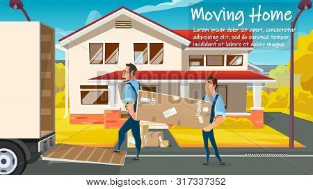 Home Moving, Relocation Service Cartoon Vector Ad Banner Or Poster Template With Two Workers In Unif