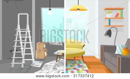 Modern Apartment Living Room Interior Repair Cartoon Vector Concept. Before And After Construction,