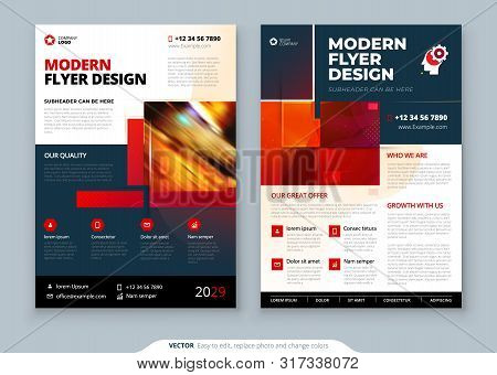 Red Flyer Template Layout Design. Corporate Business Annual Report, Catalog, Magazine, Flyer Mockup.