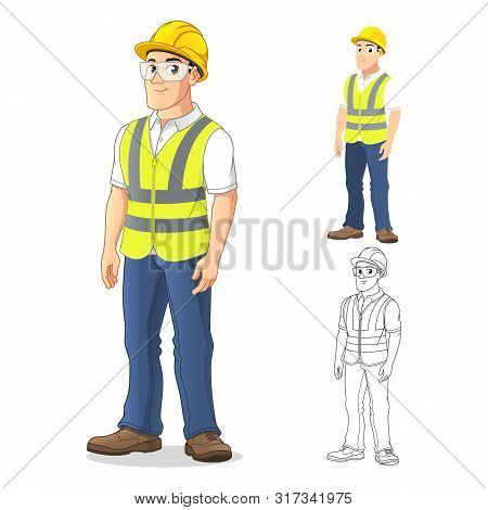 Man With Safety Gear Standing Straight, With His Arms By His Side, Cartoon Character Design, Includi