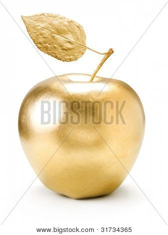 Gold apple isolated on white background.
