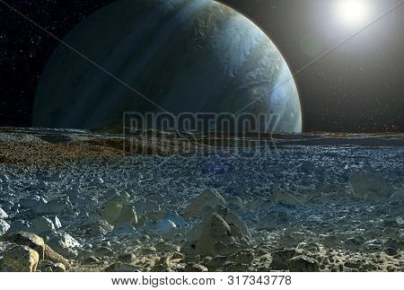 View Of Jupiter, From The Satellite Europe, With The Sun In The Corner. Elements Of This Image Were