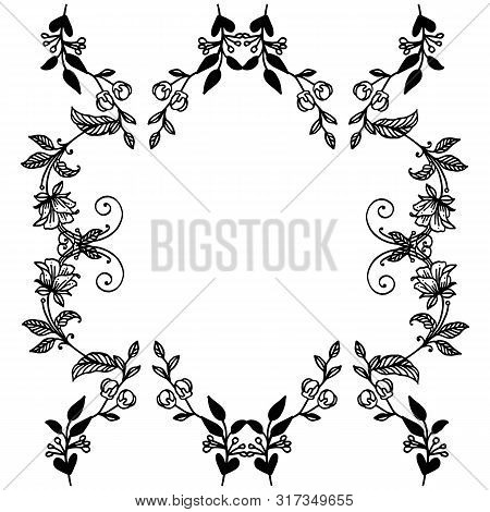 Black And White Floral Frame Ornament On A White Background, For Design Banner. Vector