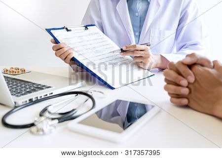 Healthcare And Medical Ethics Concept, Doctor Explains Prescription To Victim Diagnosis  Giving A Co