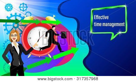 Effective Time Management Banner. Alarm Clock, Direction Arrows, Gears. Running Businessman And With