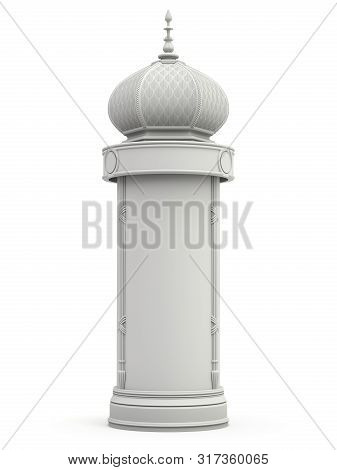 Clay Render Of Retro Advertising Column On White Background - 3d Illustration