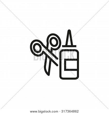Glue And Scissors Vector Line Icon. Craft, Handmade, Instrument. Design Concept. Vector Illustration