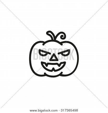 Spooky Pumpkin Line Icon. Jack-o-lantern, Monster, Vegetable. Halloween Decoration Concept. Can Be U