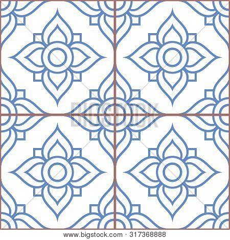 Azujelo Vector Design - Lisbon Tiles Seamless Pattern, Floral Tile Decor In Navy Blue - Portuguese R