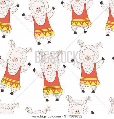 Seamless Pattern Cute Cartoon Llama Girl Alpaca Vector Graphic Design.