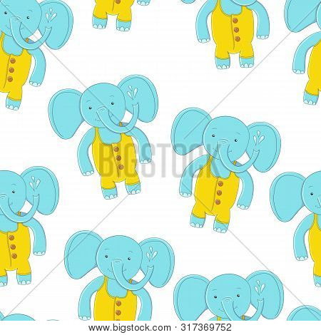 Seamless Pattern Cute Elephant. Fashion Illustration For Children