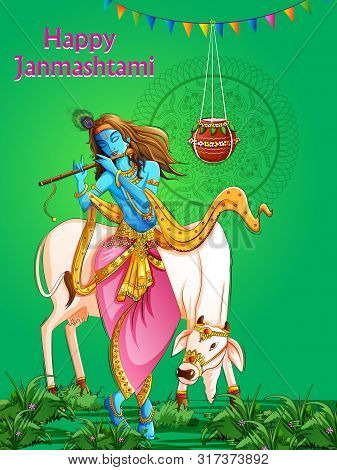 Vector Design Of Lord Krishna Playing Bansuri Flute On Happy Janmashtami Holiday Festival Background
