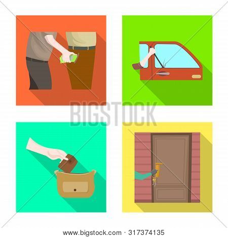 Vector Illustration Of Crime And Steal Logo. Set Of Crime And Villain Stock Vector Illustration.