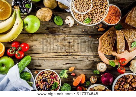 Healthy Food. Selection Of Good Carbohydrate Sources, High Fiber Rich Food. Low Glycemic Index Diet.