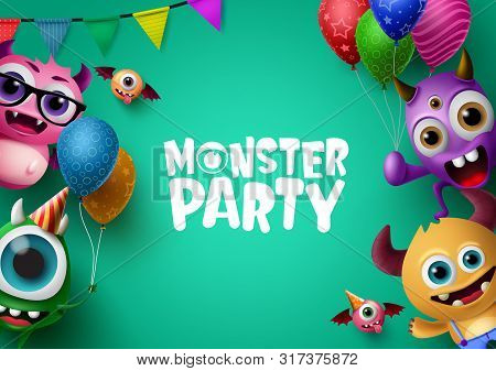 Monster Party Background Template With Vector Characters. Monster Party Text In Empty Space For Mess