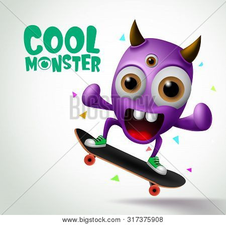 Cool Monster Skater Character Vector Design. Skater Cool Monster Character Creature Playing Skateboa