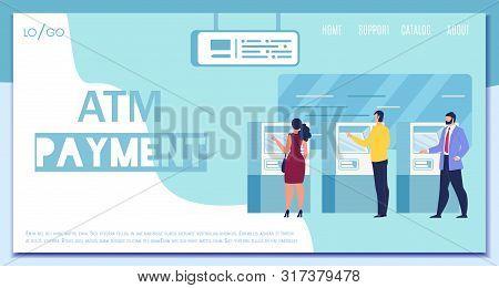 Atm Payment, Digital Banking, Distant Financial Transactions Service Flat Vector Web Banner, Landing