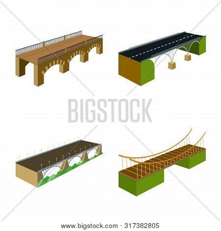 Vector Design Of Bridgework And Architecture Icon. Collection Of Bridgework And Structure Stock Vect