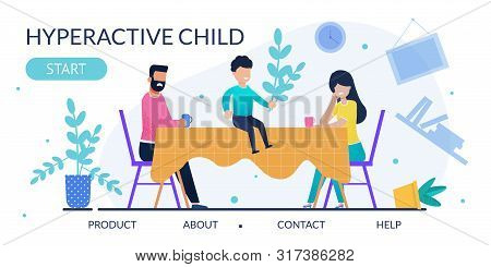 Psychological Method In Therapy Hyperactive Child. Advertising Flat Landing Page. Frustrated Parents