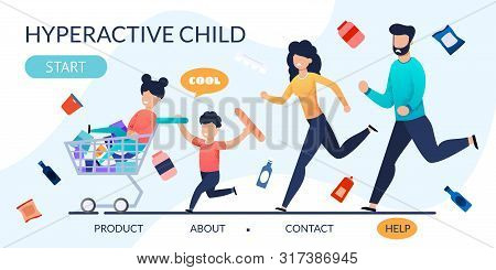 Landing Page With Hyperactive Children And Parents. Cartoon Disobedient, Naughty, Rowdy Kids Fool Wi