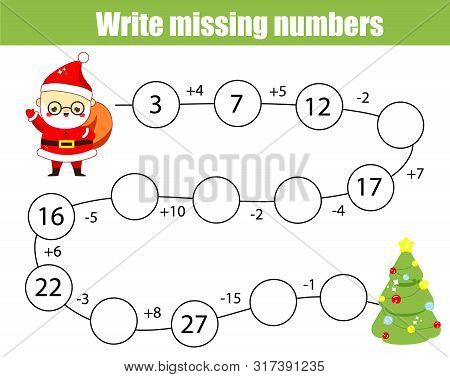 Mathematics Educational Game For Children. Complete The Row, Write Missing Numbers. Solve The Equati