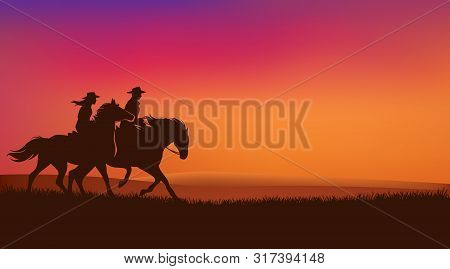 Cowgirl And Cowboy Riding Horses In Romantic Sunset Prairie Field - Wild West Rangers Vector Silhoue