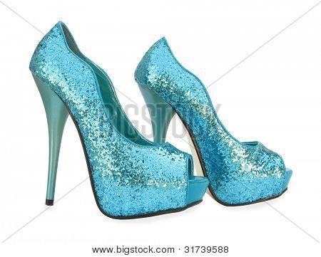 Blue open toe sparkling high heels pump shoes