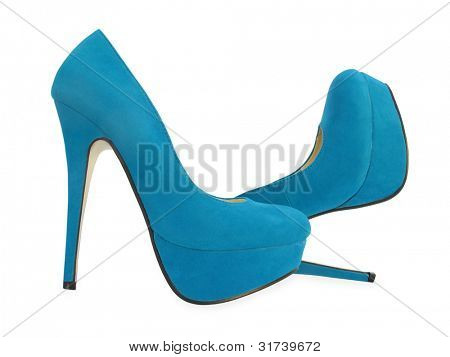 Blue high heels pump shoes