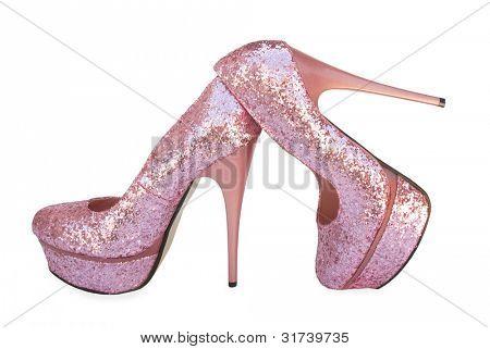 Pink sparkling high heels pump shoes