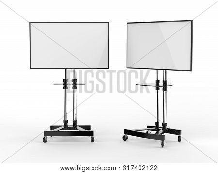 Mobile Blank White Screen Tv Trolley Stand Mount Cart Exhibition Led Advertising Display. 3d Render