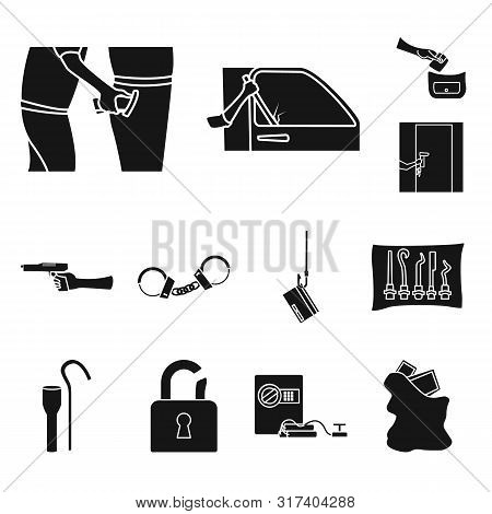 Vector Design Of Robber And Villain Sign. Set Of Robber And Police Stock Symbol For Web.