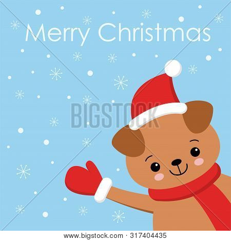 Little Puppy Card. Young Funny Dog. Cute Brown Playful Puppy In Hat As Santa Claus. Clipart Vector I