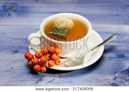 Cup Of Tea On Blue Background Close Up. Gourmet Delicious Taste. Herbal Tea. Ceramic Cup Hot Fresh B