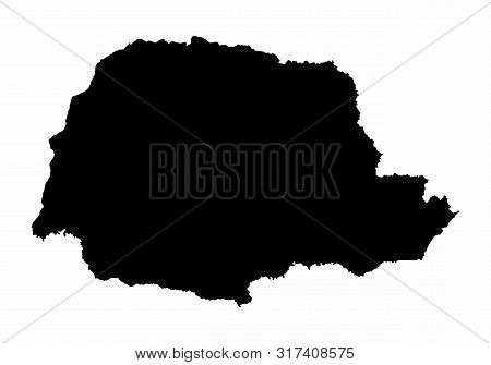 Parana State Silhouette Map Isolated On White Background, Brazil