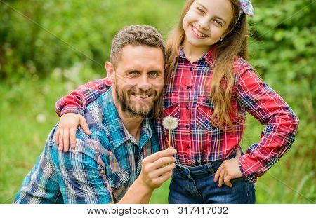 Dad and daughter blowing dandelion seeds. Keep allergies from ruining your life. Seasonal allergies concept. Outgrow allergies. Biggest pollen allergy questions. Father little girl enjoy summertime poster