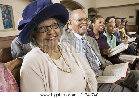 Senior Woman in Sunday Best at Church