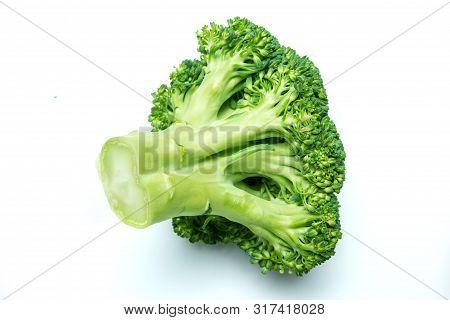 Broccoli Isolated On White Background. Green Brocoli