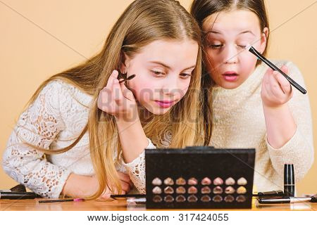 Tutorial For Beginners. Little Girls Doing Face Painting And Makeup Tutorial. Beauty Tutorial For Yo