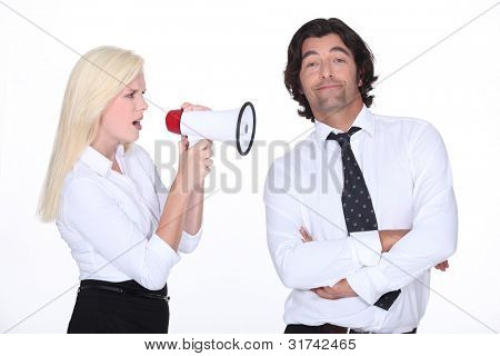 girl with loudspeaker and man