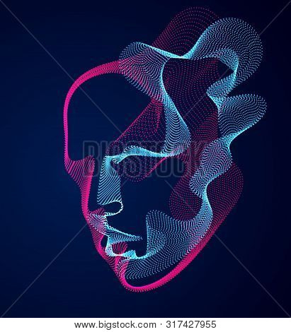 Beautiful Vector Human Face Portrait, Artistic Illustration Of Man Head Made Of Dotted Particles Arr