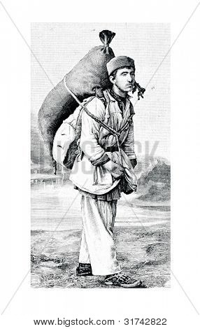 The seller of wine. Engraving by Shyubler. Published in magazine